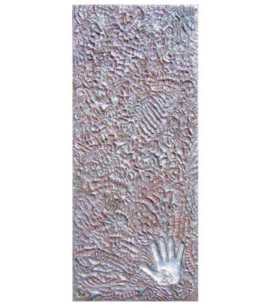 gemälde italien benefiz für aquila erdbeben am 4.6.2009 pappmaschee relief farbpigment acrylfarben blattsilber handabdruck massimo oddo fußballspieler ac mailand nationalmannschaft heidelberg