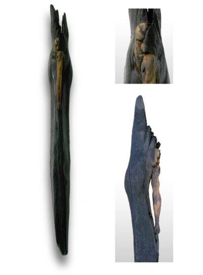 skulptur black angel italien eichenfund geschnitzt gebrannt heidelberg